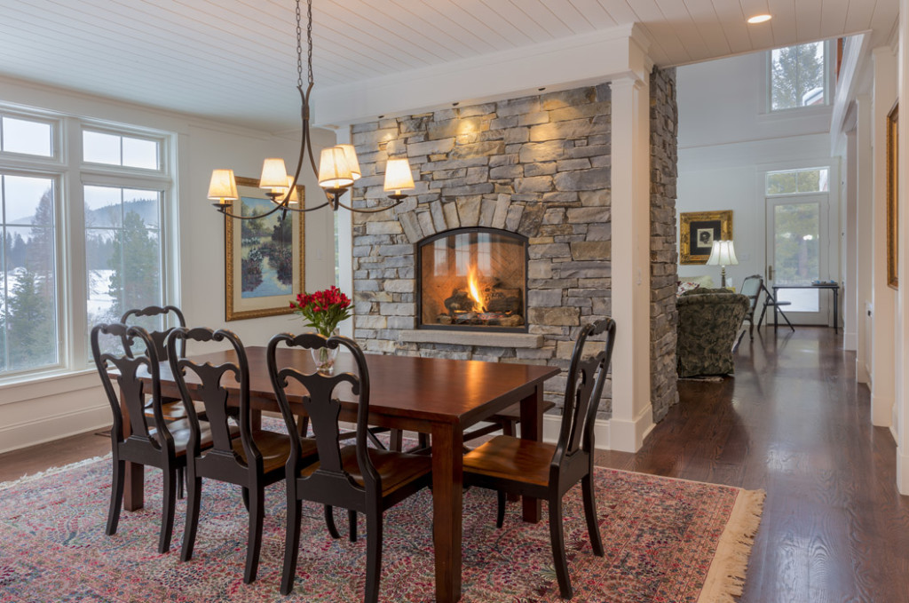 North Country Builders Montana, Dining Area with fireplace